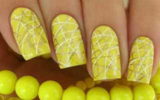 Актуальный дизайн для желтых ногтей с видео и фото