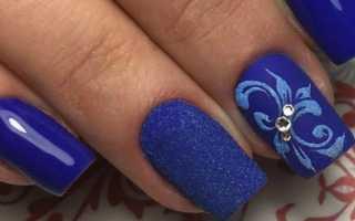 Актуальный дизайн для синих ногтей с видео и фото
