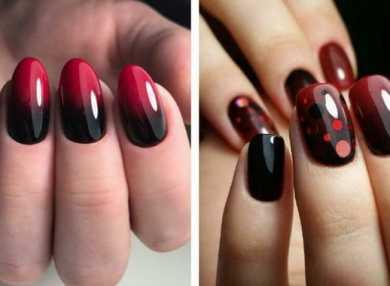 Модный черно-красный маникюр с видео и фото