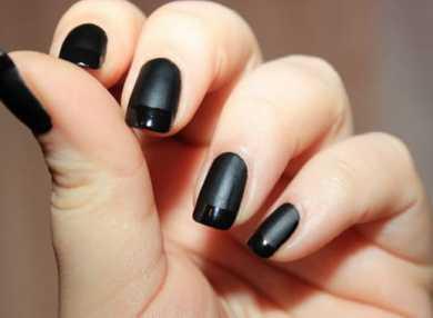 Модный черный матовый маникюр с видео и фото