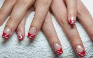 Модный красный френч на ногтях с видео и фото