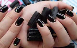 Актуальный дизайн для черных ногтей с видео и фото