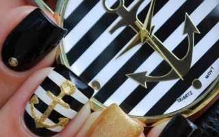 Морской дизайн для черно-белых ногтей с видео и фото