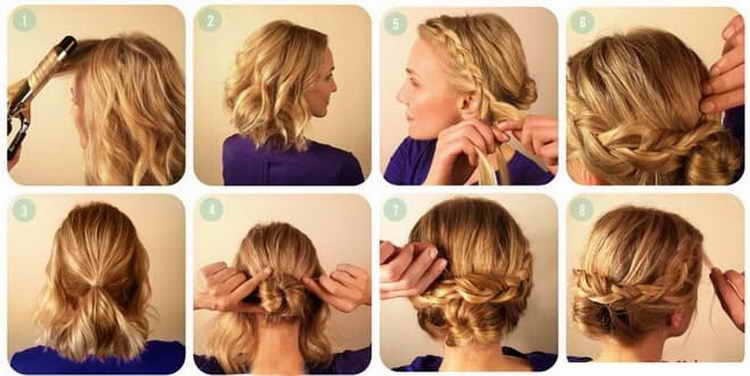 быстрые прически на волосы средней длины