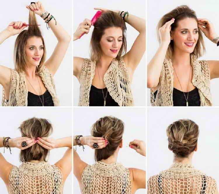 быстрая и легкая прическа на средние волосы