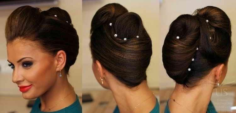 прическа ракушка на средние волосы фото