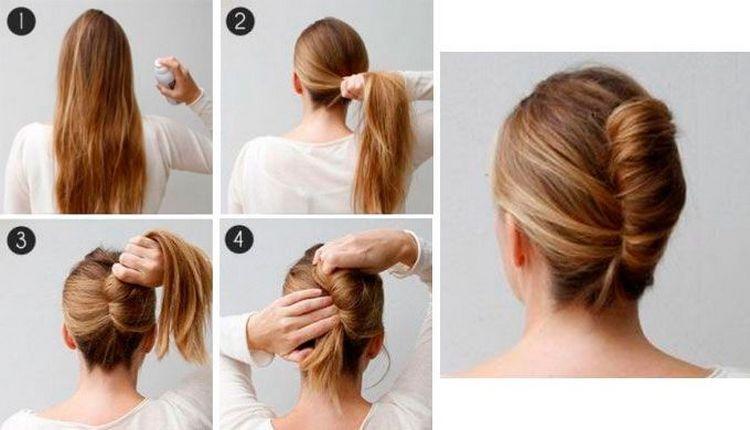 На фото вы можете увидеть, как сделать прически пучки на средние волосы.