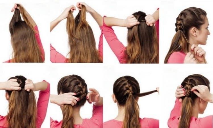 Такие прически из косичек можно делать на длинные волосы.