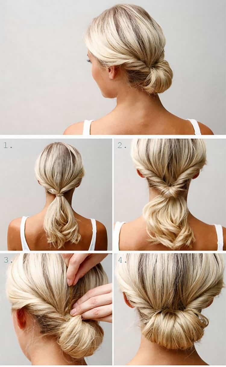 Вот еще один вариант легкой прически на волосы до плеч.