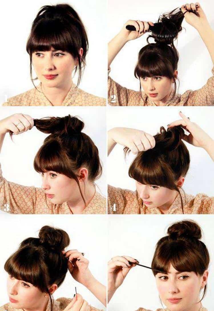 А вот еще один симпатичный вариант прически на длину волос до плеч.