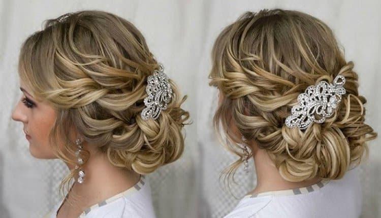 Если прически на средние волосы, собранные сзади, украсить таким аксессуаром, получится уже довольно-таки неплохой вариант свадебной собранной прически.