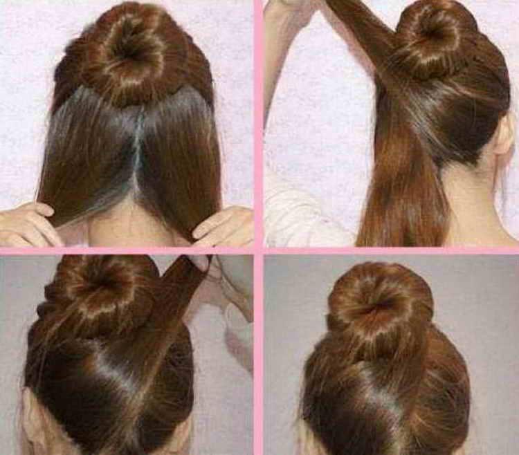 прически с бубликом для волос пошаговое фото