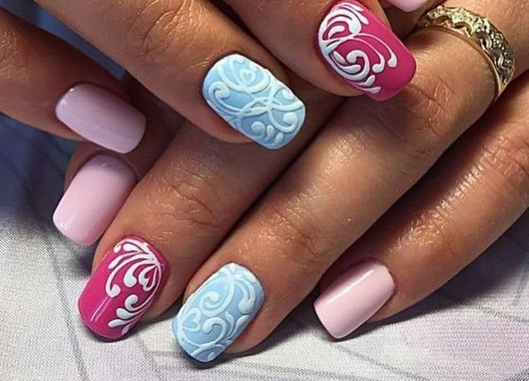 Красиво смотрятся на ногтях объемные рисунки.