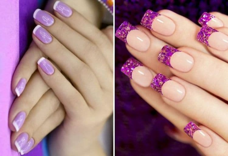 Во френче фиолетовый можно использовать и как базовый цвет, и как цвет для улыбки.