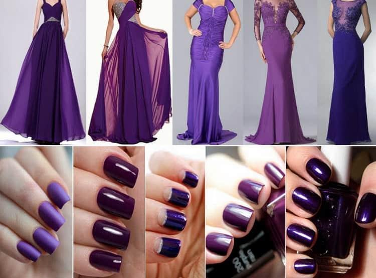 Очень важно подобрать удачное платье под фиолетовый маникюр.