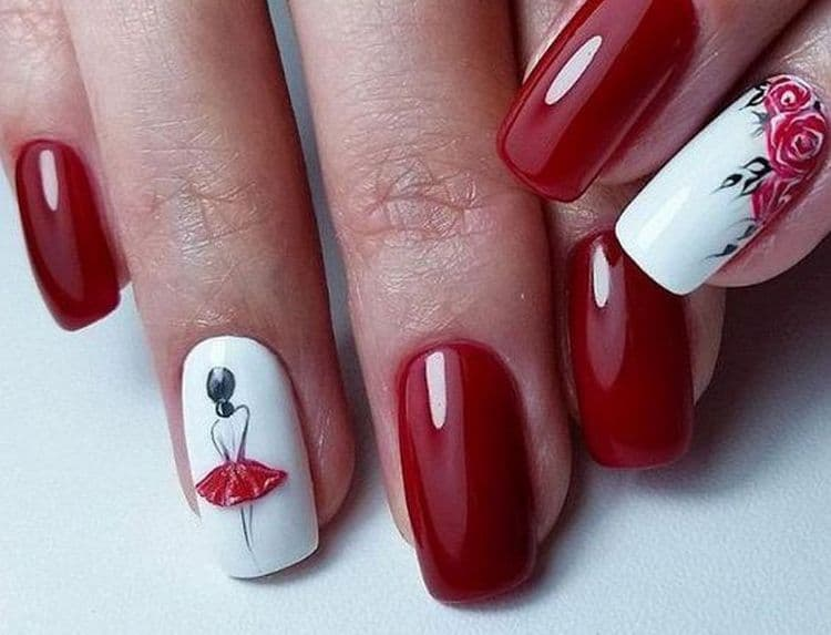 На фото можно увидеть интересный дизайн маникюра красного с белым.