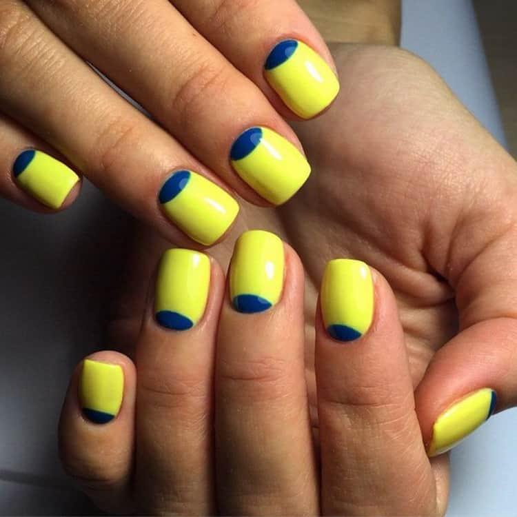Как сделать маникюр синий с желтым