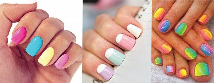 Сейчас популярны яркие цвета на ногтях.