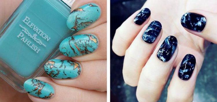 Мрамор всегда был классикой на ногтях.