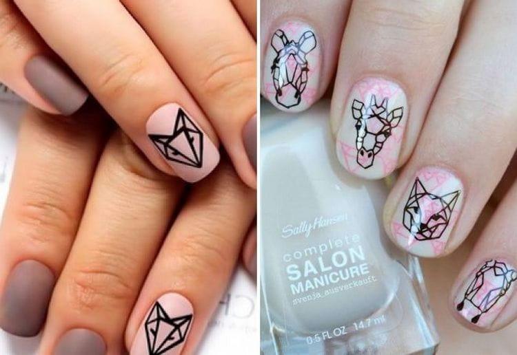 Сейчас очень популярны геометрические изображения животных на ногтях.