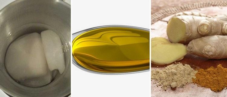 Избавиться от морщин поможет парафин с имбирем и растительным маслом.