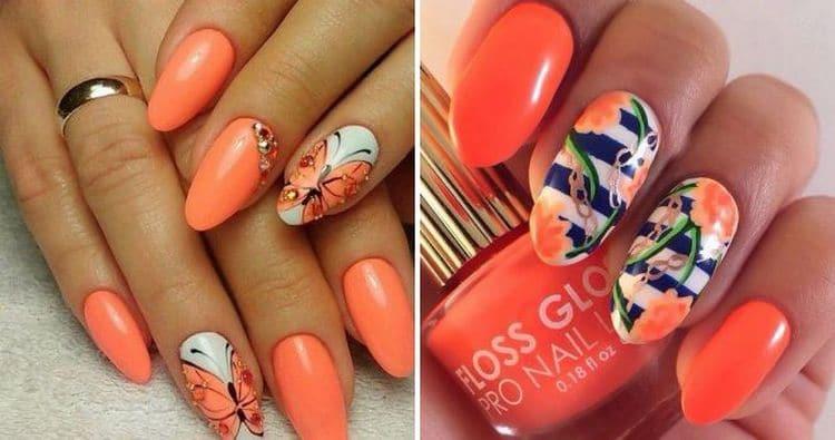 оранжевый красиво выглядит на ногтях с рисунками.