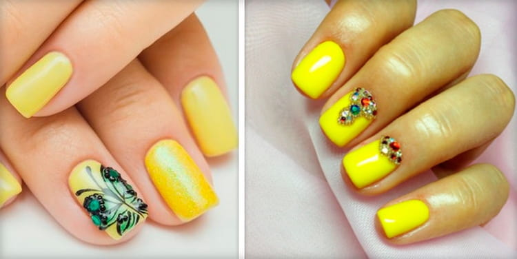 Желтый красиво выглядит с рисунками и стразами.