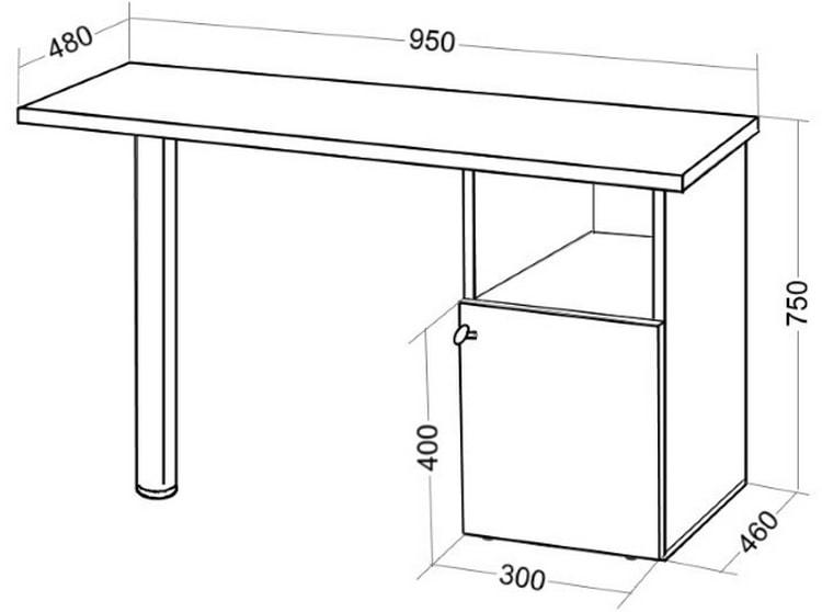 На фото вы видите чертеж стола для маникюра, который можно сделать своими руками.