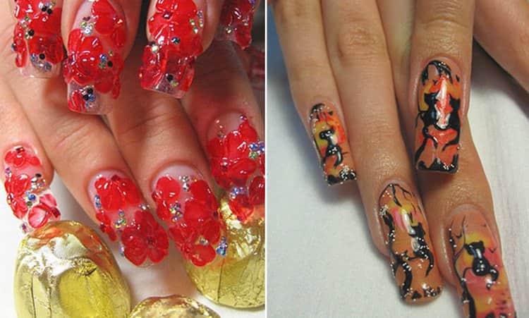А вот пример неудачных рисунков на ногтях.