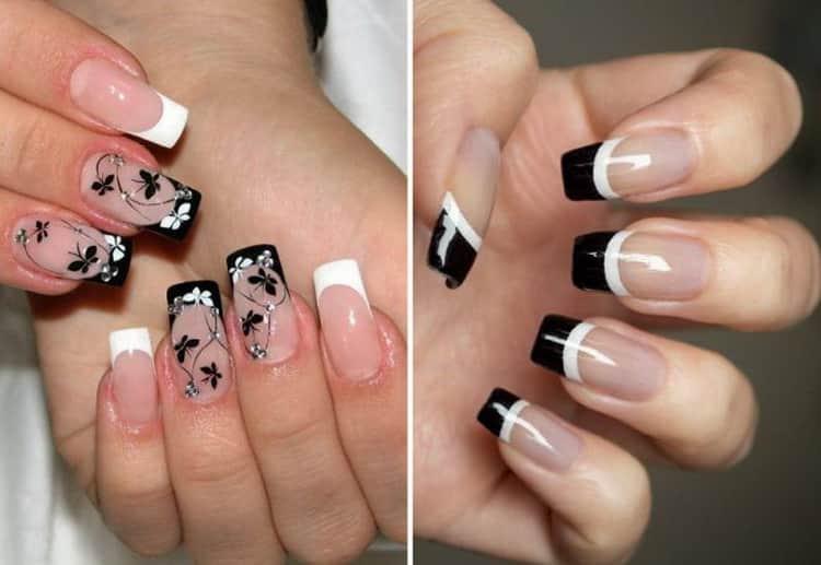 Как сделать черно белый маникюр на короткие ногти, смотрите фото