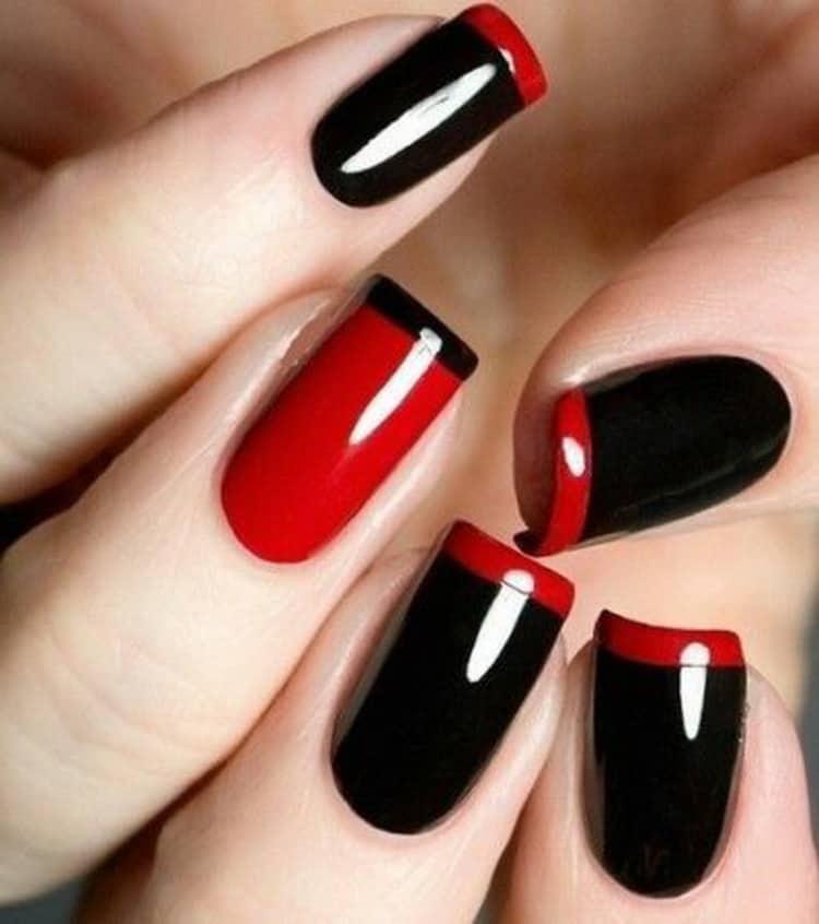 Как делается красно черный маникюр на коротких ногтях, фото