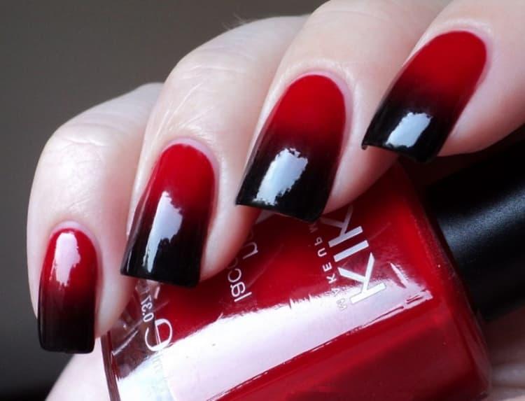 Кк делается черно красный градиент маникюр