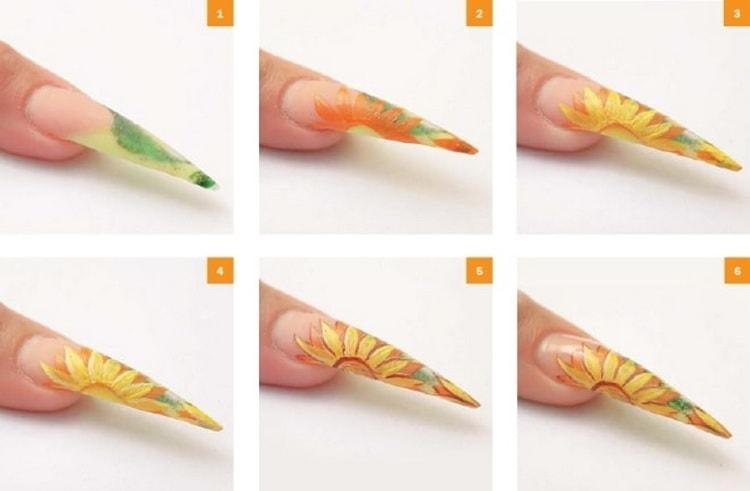 Модный маникюр на острые ногти с видео и фото