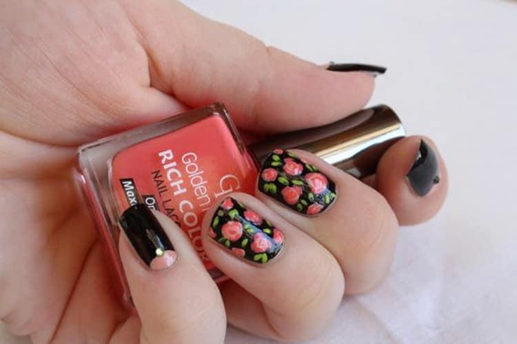 Как сделать маникюр с цветами на ногтях, фото