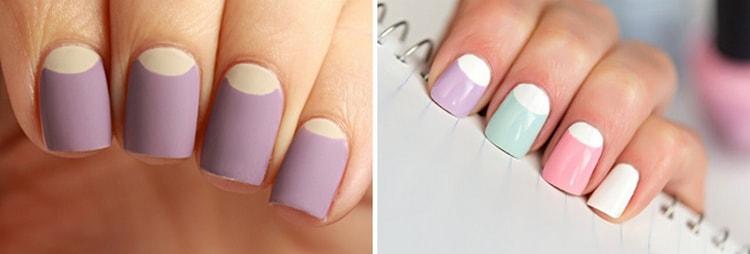 Лунный пастельный маникюр очень украшает ногти.