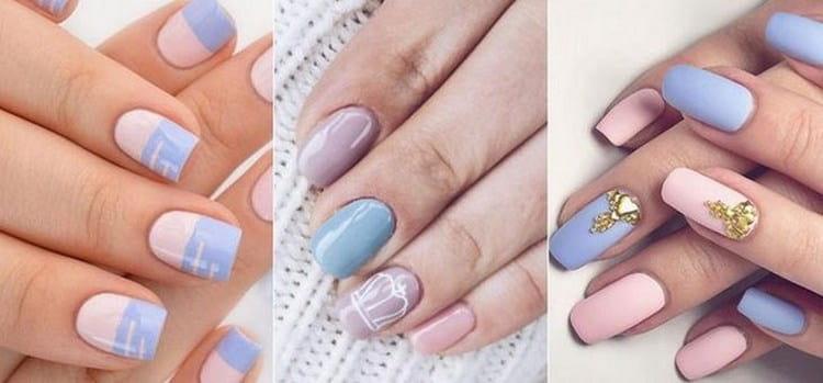 пастельные цвета очень хорошо сочетаются друг с другом на ногтях.