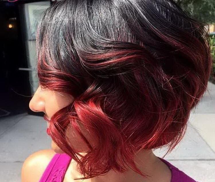 Как сделать цветное омбре на темные короткие волосы