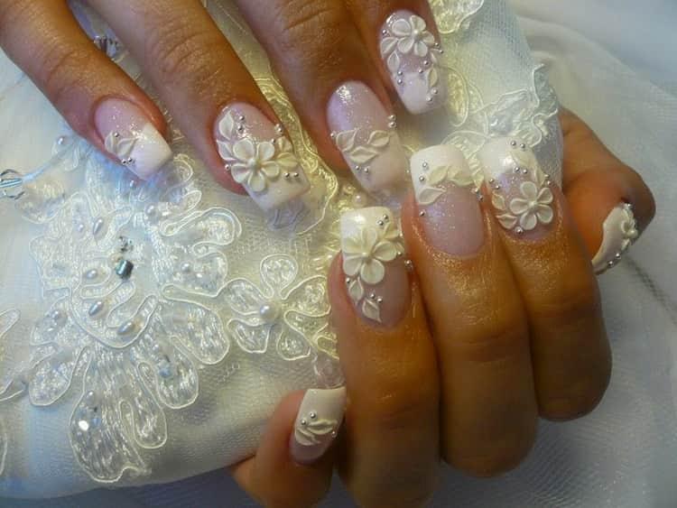 Как сделать свадебный маникюр из кружева