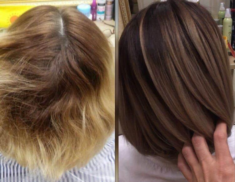 Посмотрите фото до и после 3д окрашивания волос.