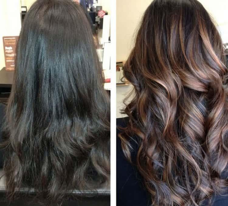 А вот фото до и после 3d окрашивания волос.