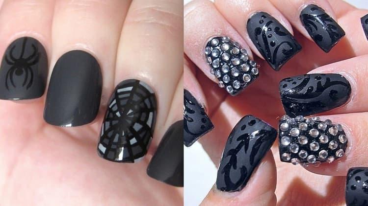 если вы делаете дизайн черных ногтей с блестками или стразами, важно не перегрузить маникюр.