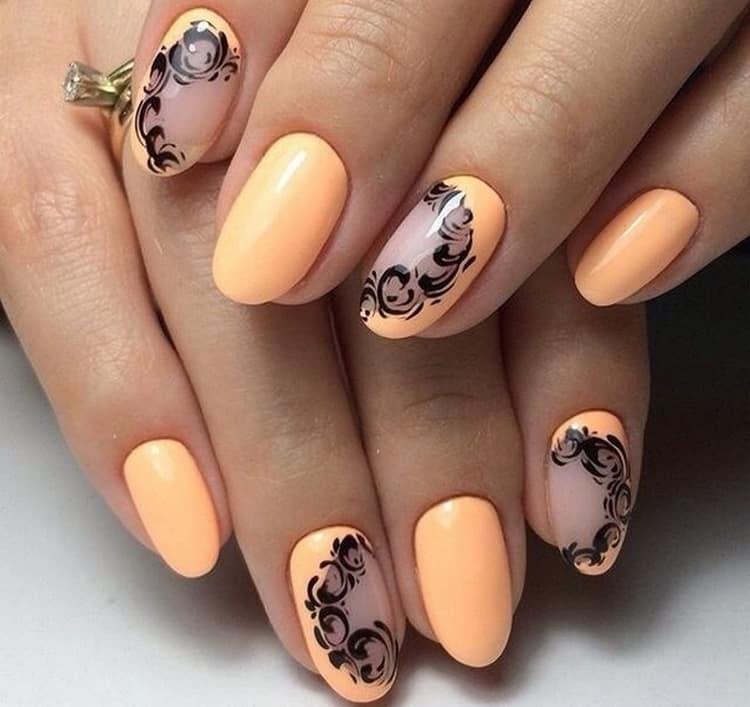 пастельный оранжевый тоже хорошо сочетается с черным.