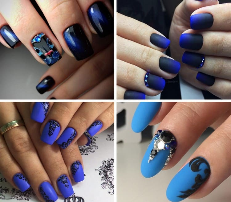 актуален и черно-синий дизайн ногтей.