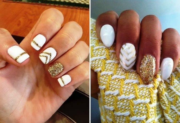 Модным считается дизайн ногтей белый с золотом.