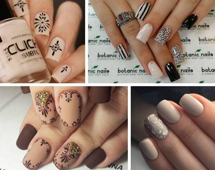 Для бежевых ногтей очень актуален дизайн с рисунком.