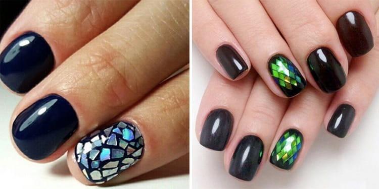 Можно только акцентный палец декорировать битым стеклом.