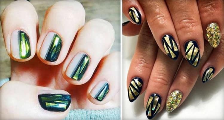 Оригинальные линии с битым стеклом на ногтях.