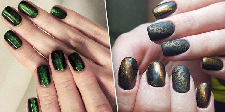 Очень модный дизайн ногтей с покрытием гель-лаком кошачий глаз.
