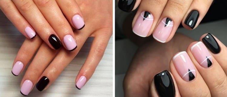Оригинально смотрится дизайн ногтей розовый с черным.