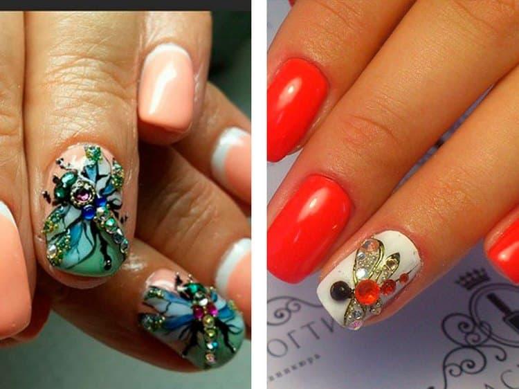Модным считается дизайн ногтей с бабочками и стрекозами.